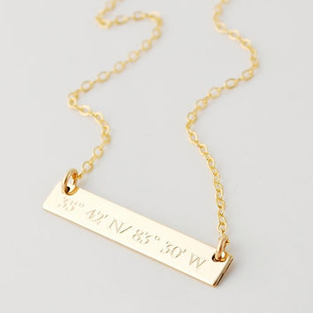Compass coordinates celebrity inspired dainty nameplate gold bar necklace - engraved - Gifts for her - Women and Teens - Initials