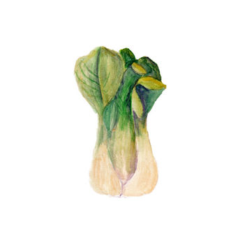 Bok Choy, Watercolor Painting, Vegetable Art Print, Gardening Art, Gardener Print, Vegetable Art, Food Art, 8X10 printable, Kitchen print