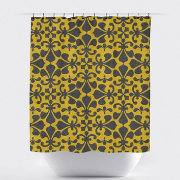 Mustard/Gray Fleur De Lis Shower Curtain