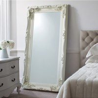 Carved Louis Leaner Mirror Cream | White Painted Leaner mirror | French Style Large Mirror