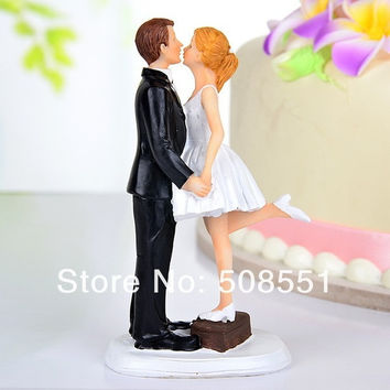 "A Kiss And We're Off"" Wedding Cake Toppers bride and groom,cupcake topper = 1930122948"