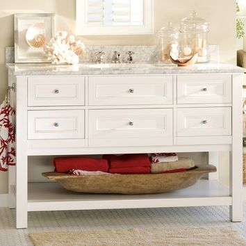 Classic Single Wide Sink Console - White