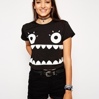 ASOS Cropped Boyfriend T-shirt with Halloween Monster Face Print at asos.com