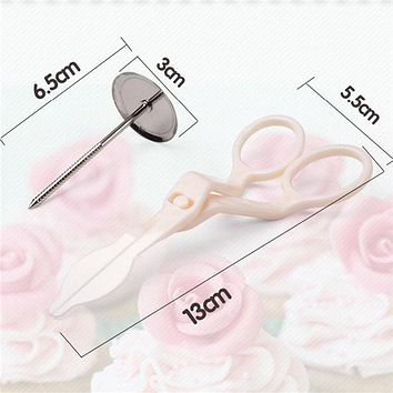 2Pcs/Set Icing Piping Scissors Flower Stand Nail Cake Decorating Pastry Tools