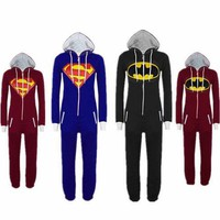 Halloween Party Cosplay Costume Unisex Adult Pajamas Onesuit Men Women Batman vs Superman One Piece Sleepsuit Sleepwear Suit