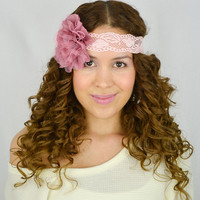 Flower Lace Headband Rosy Mauve headband women's hair band wedding headband bridesmaids gifts Dark Pink flower headband boho headband turban
