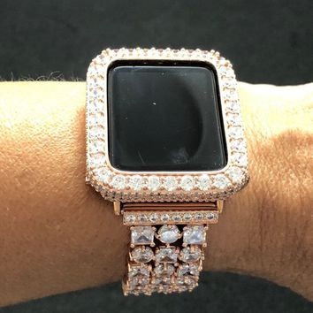 38mm 42mm Apple Watch Case Cover Bezel Womens Mens Rose Gold Iced Out 2mm Lab Diamonds Rhinestone Crystal Iwatch Bling Smart Watch