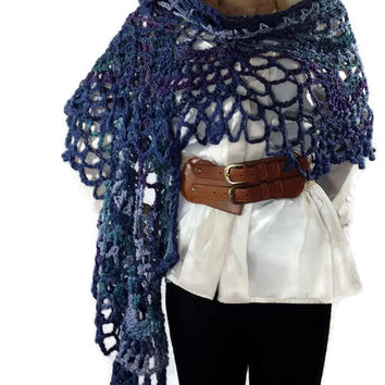Outlander Claire Shawl Wrap Scarf Wildflowers Scottish Blue Purple Green Boho Bulky Lace FREE SHIPPING