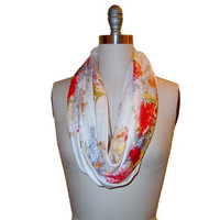 Floral circle scarf, infinity scarf, cotton scarf, red yellow orange floral, spring scarf, summer scarf