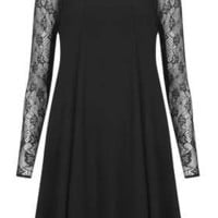 Lace Sleeve Swing Dress - Dresses  - Clothing