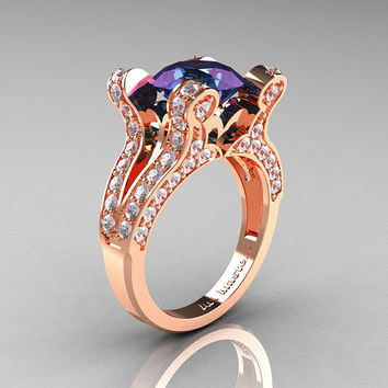 French Vintage 14K Rose Gold 3.0 CT Russian Alexandrite Diamond Pisces Wedding Ring Engagement Ring Y228-14KRGDAL