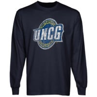 UNCG Spartans Distressed Primary Long Sleeve T-Shirt - Navy Blue