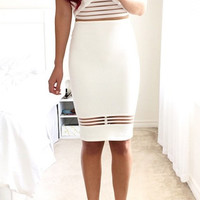 On Your Mark Midi Dress - White
