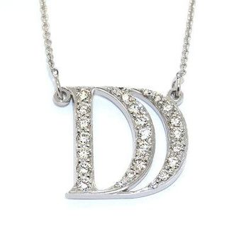 Diamond Initial Necklace, 14K Gold Initial Necklace With Diamond Initial Pendant, Initial Diamond Necklace Real Diamonds Monogram Necklace