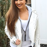 Stud Trim Leather Jacket with Hood