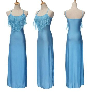 Summer Sleeveless Maxi Dress with Lacy Bodice and Spaghetti Straps.     In Sizes From Small to 3XL.       Colors:  Lime Green, Blue, Rose, White and Red.    ***FREE SHIPPING***