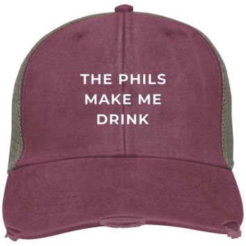 The Phils Make Me Drink Distressed Embroidered Cap