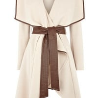 Oasis Shop |  Cream Faux Leather Trim Belted Drape Wrap Coat | Womens Fashion Clothing | Oasis Stores UK
