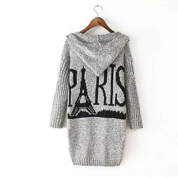 Tower Pattern Hooded Sweater Knit Cardigan Jacket Coat