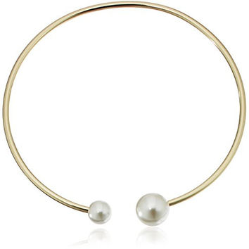 Rebecca Minkoff Gold with Pearl Collar Necklace