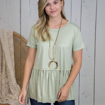 Sam's Basic Ruffle Bottom Top, Light Sage