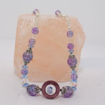 Lilac Lepidolite, Blue & Clear Crystal with Lilac Glass circle accents 3pc Jewelry Set
