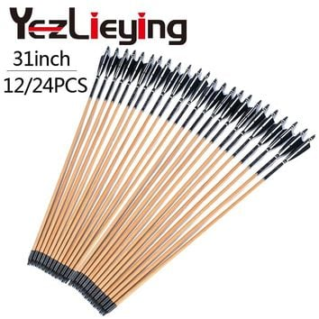 High Quality 12 / 24PCS Handmade Wooden 80cm Arrows Turkey Feathers 25-50lbs Hunting Archery Shooting Outdoor