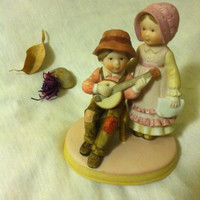 Holly Hobbie Happy Days Statue Vintage Hollie Hobbie Designer Collection Series I Sweet Remembrance Collection Girl and Boy Playing Banjo