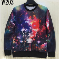 FG1509 [Mikeal] 2015 Fashion Space/Galaxy 3d hoodies for men/women funny print Skull stars 3d sweatshirt hoody tops W203