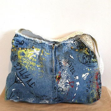Upcycled Denim Bag with Graffiti Print and Studs/Summer/Beach Bag/Tote