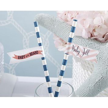 Personalized Party Straw Flags - Kate's Nautical Baby Shower Collection