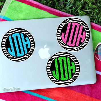 Custom Monogram Zebra Stripe Sticker Colorful Car Decal Laptop Decal Vinyl Bumper Sticker Personalized Initials Monogrammed Pink Green Blue