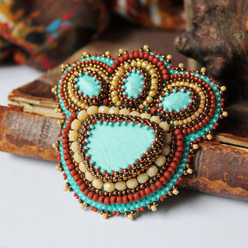 Turquoise Copper Brooch Embroidery Brooch Turquoise Beige Brooch Ethnic Tribal jewelry Chunky Turquoise Brooch Turquoise Jewelry