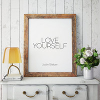 "Typographic Print Gift idea Home decor song lyrics Wall art Justin Bieber Art Print ""Love Yourself"" Justin Bieber song Justin Bieber album"