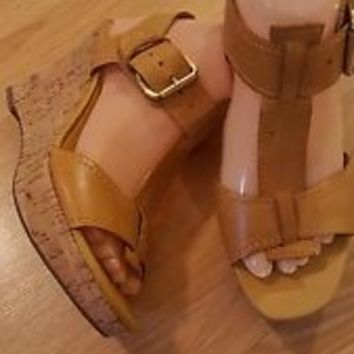 Women's Franco Sarto mustard yellow leather Ankle Strap Wedge Sandals sz 7.5 NEW