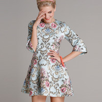 Light Blue Floral Jacquard Dress