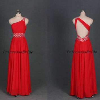 2014 long red chiffon prom dresses with rhinestones,cheap elegant homecoming dress,floor length one shoulder gowns for holiday party.