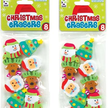 Christmas Erasers - 8 Count Case Pack 12