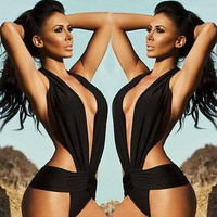 One piece swimwear backless bathing suit padded deep V one piece monokini