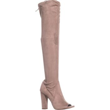 Carlos by Carlos Santana Fitz Peep Toe Over The Knee Boots, Doe, 8.5 US / 38.5 EU