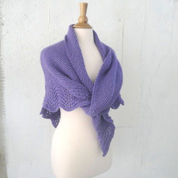 Hand Knit Shawl Wrap, Purple, Lace Edged, Prayer Shawl, Cuddly