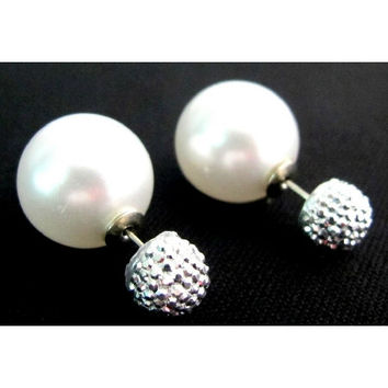 White Double Sided Pearl Earrings Studs Gift for her White Pearl Front And Back Pearl Pave Ball Stud Earrings Free Shipping In USA