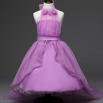 Flower Baby Girl Dress Purple prom gown Dresses For Girls Kids Clothes Formal Teenage Girl Christening Dress Girl Frocks 12 Year