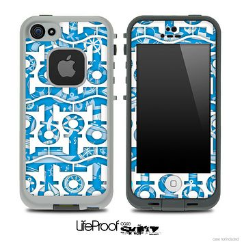 White and Blue Nautica Anchor Collage Skin for the iPhone 5 or 4/4s LifeProof Case