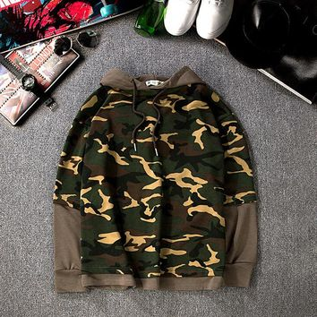Mens Womens Patchwork Camo Pullovers Hoodie Lover Gift