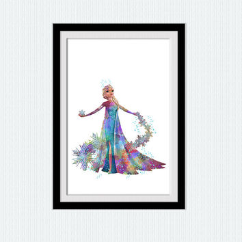 Elsa watercolor art print Frozen colorful poster Disney princess decor Disney poster Home decoration Kids room wall art Nursery decor W494