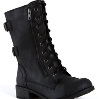 Soda Shoes Dome Combat Boots in Black DOME-S-BLK
