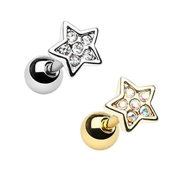 Silver & Gold Twinkling Star Cartilage Tragus Earring