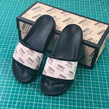 Gucci Stamp Print Slide White Black - Sale