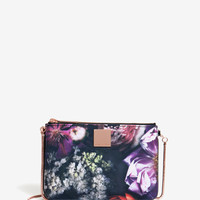 Shadow Floral canvas clutch bag - Black | Bags | Ted Baker ROW